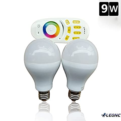 LEONC 2*9W RGB Color Changing LED Smart Bulbs +Touch Remote