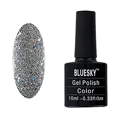 Bluesky Silver Glitter Explosion UV LED Gel Soak off Nail Polish 10 ml by Bluesky
