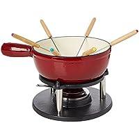 Baumalu 385052 - Juego de fondue saboyana (6 servicios, fundición esmaltada), color rojo