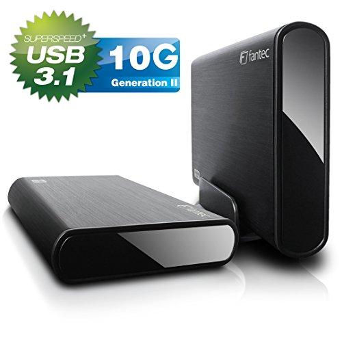 Fantec DB-ALU31 Box Case Esterno per HDD SATA I/II/III e SSD, 3,5 Pollici e 2,5 Pollici, Con porta USB 3.1 TIPO C SUPERSPEED + 10G, Case in Alluminio Spazzolato, Nero
