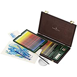 Faber-Castell 117506 - Estuche de madera con 48 lápices de colores acuarelables y accesorios, multicolor