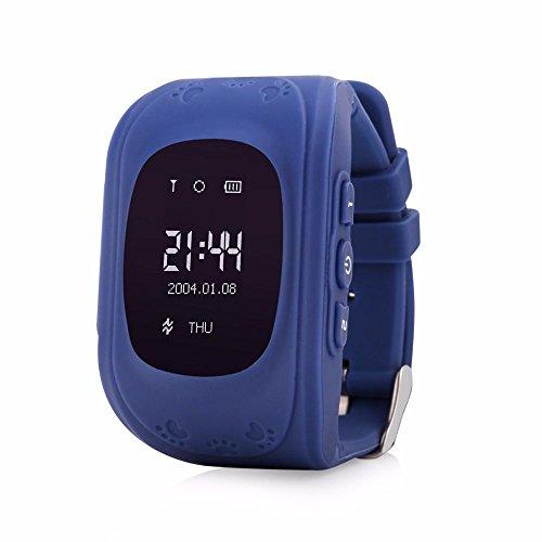 Preisvergleich Produktbild Leydee Smart Watch Baby Watch Kind Safe Finder GPS Telefon mit 0,96 Zoll OLED Bildschirm SIM Karte SOS Anrufe Voice Chat Armbanduhr GPS Locator Tracker Anti-Lost Kinder Monitor für iOS Android , blue