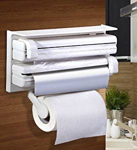 Private Image Kitchen Triple Paper Dispenser & Holder With Tissue Paper Roll,Aluminum Foil,And Plastic Wrapping Film  available at amazon for Rs.595