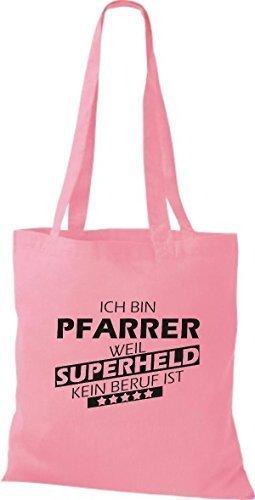 shirtstown Borsa di stoffa sono pastore, WEIL supereroe NESSUN lavoro è rosa 1