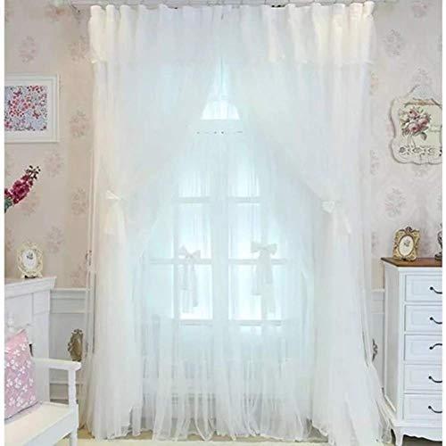 AA-Curtain CULI Spitzenvorhänge, halb Princess Voile Vorhang für Hochzeitszimmer Lace Blackout Vorhänge Floral Panel Vorhänge-weiß 300x270cm (118x106inch) (Floral Panel Hat)