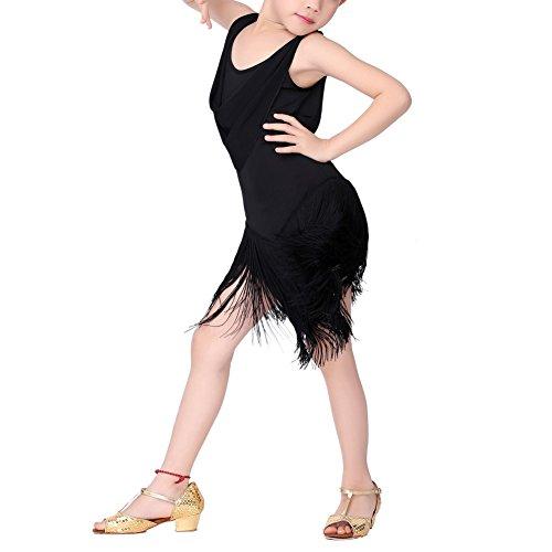 Kinder Kostüme Salsa (ESHOO Mädchen Tanzkleid, Kinder Quaste Kleid Latein Salsa Dancewear)