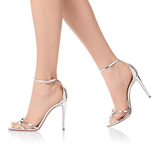 He-yanjing Damenmode Shoes, Europa und Amerika Frauen große Größe Gold und Silber Stiletto Sandalen Fashion-Schuhe Dinner Schuhe,B,43 - Stiletto Prom Schuhe
