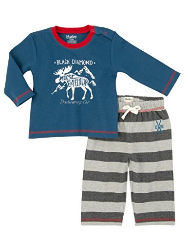 Hatley Baby-Jungen Bekleidungsset Moose Expedition Track Pant Set-Infant Blau-Blau, 92 (Pant Expedition)