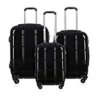 REYLEO Luggage Set 3 Pieces Suitcase PC+ABS Travel Trolley Cases With 4 Wheels 360° Spinner 20 / 24 / 28 inch - Black