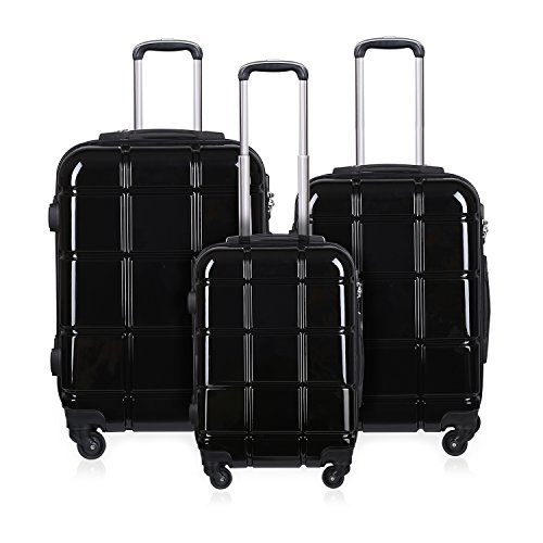 REYLEO Kofferset 3 teiliges Hartschale PC+ABS Reisekoffer Trolley 4 Rollen 360° 200 Liter mit Zahlenschloss TSA Gepäck-Sets Glänzende Schwarz RL01