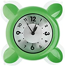 txxci mini horloge ventouse cuisine salle de bain tanche horloge en verre vert - Pendule Salle De Bain