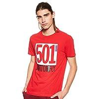 Levi's Men's Printed Regular fit T-Shirt (52655-0029_Red_Medium)