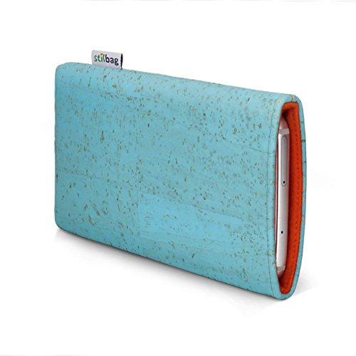 stilbag Funda para teléfono móvil Vigo para Xiaomi Mi Mix 2s | Bolsa para Celular Smartphone Made in Germany | Corcho Azul Hielo, Fieltro de Lana Naranja