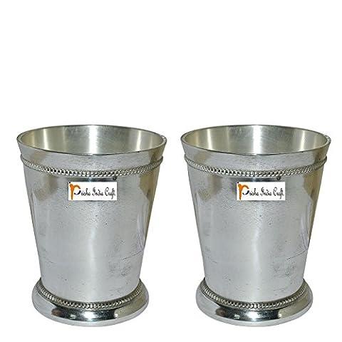 Set of 2 - Prisha India Craft ® Beaded Silver Mint Julep Cup - 10 oz Beaded 4