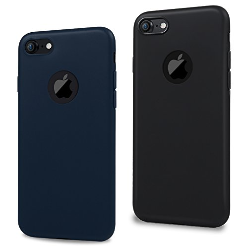 """MAXFE.CO 2X Cover iPhone 7 Silicone Morbido TPU Flessibile Gomma Opaco Candy Case Antiscivolo Satinato, Ultra Sottile Cassa Protettiva AntiGraffio Custodia per iPhone 7 4.7"""" - Nero, Blu Scuro"""