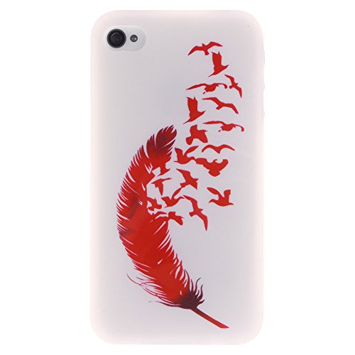 Apple Iphone 4 4S hülle MCHSHOP Ultra Slim Skin Gel TPU hülle weiche Silicone Silikon Schutzhülle Case für Apple Iphone 4 4S- 1 Kostenlose Stylus (Briefpapier und Umschläge Stempel (Letter Paper and E Feder und Flying Birds (Feather and Flying Birds)
