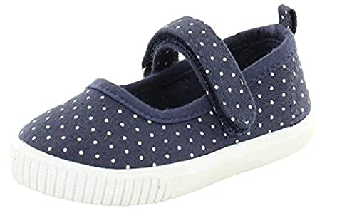 Girls Navy and White Canvas Shoes with Touch Fastening (4 Child UK)