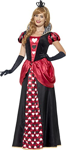 Smiffy's 45489X1 - Damen rote Königin Kostüm, Kleid und Krone, Größe: 48-50, (Ideen Rot Kostüm Kleid)