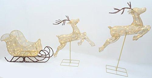 """Christmas Concepts® 132cm (52??\"""") Aufhellen LED Bronze Glitzer Rentiere mit Schlitten Luxus Weihnachtsdekoration - Drinnen / Draussen Garten Weihnachtsdekoration"""