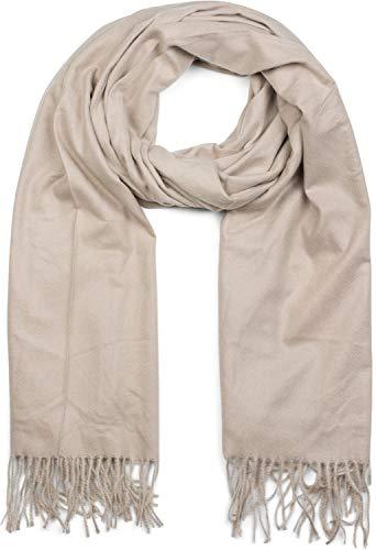 Winter-schal Mit Fransen (styleBREAKER Unisex weicher uni Schal mit Fransen, Winter, Stola, Tuch 01017104, Farbe:Beige)