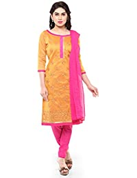 Florence Women's Cotton Chanderi Dress Material, Free Size(Mustard, SB-3257)