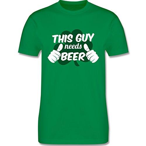 St. Patricks Day - This Guy Needs Beer Kleeblatt - L - Grün - L190 - Herren T-Shirt Rundhals (Irland-grünes T-shirt)