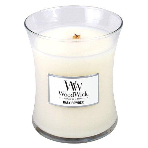 WoodWick 92099 Duftkerze im Glas mit Holzdeckel Babypuder - Honig, Rose, Geißblatt (Woodwick Kerzen Vanille)