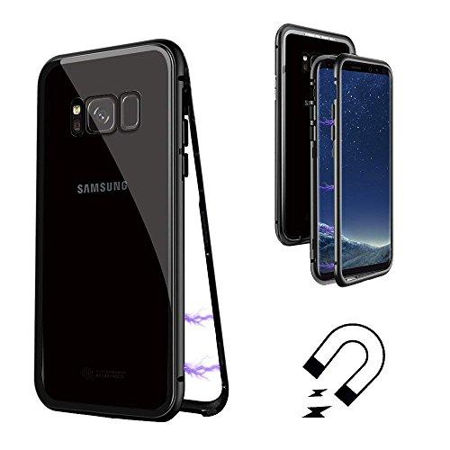 QLTYPRI Samsung Galaxy S8 Plus Hülle, Ultra Dünn Magnetische Adsorption Metall Handyhülle Transparent Rüstung Stoßfest 9H Hartglas Rücken Aluminium Rahmen [Keine Schutzfolie] Flip Case - Klar Schwarz