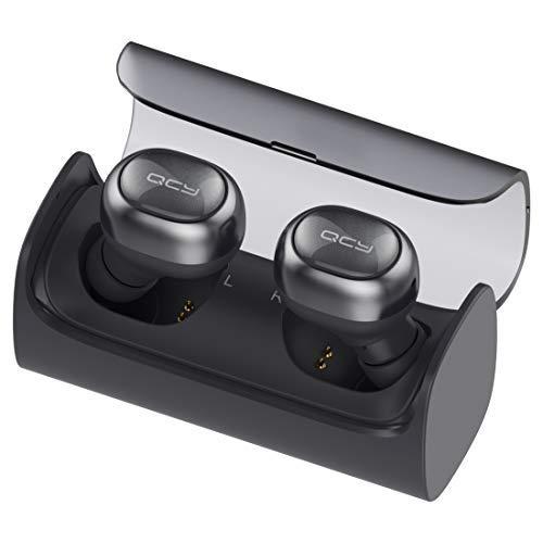 QCY q29Pro–Auriculares in-Ear de Bluetooth Inalámbricos con ladecase (Power Bank), True Wireless High-End Sound, Gran batería y micrófono (Negro) Negro