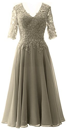 MACloth Elegant V Neck Mother of the Bride Dress Lace Formal Party Evening Gown Pewter