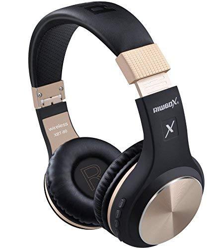 Bluetooth-Kopfhörer, Rriwbox XBT-80 Faltbare, kabellose Stereo-Kopfhörer Over-Ear mit Mikrofon und Lautstärkeregelung, mit und ohne Kabel, für PC/Handys/TV/iPad (Schwarz&Gold) - Schwarze Kopfhörer Mit Mikrofon
