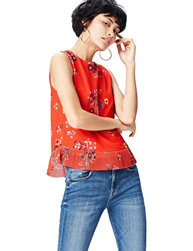 FIND Peplum Printed Blusa Para Mujer, Rojo (Red Mix), 42 (Talla del Fabricante: Large)
