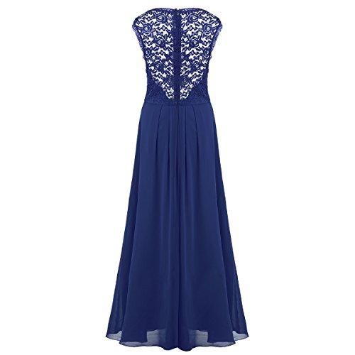 ... Tiaobug Elegant Damen Kleider festlich V-Ausschnitt Cocktailkleid Lange  Chiffon Abendkleider Brautjungfernkleid Gr. 34 ...