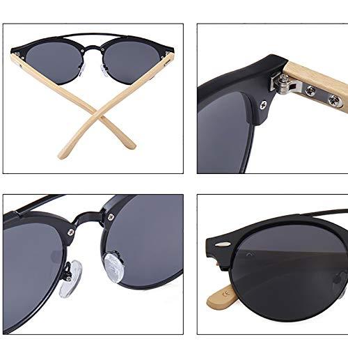 Klassische Retro Bambus Sonnenbrille einfache männer und Frauen Sonnenbrille ultraviolett Bambus Sonnenbrille (7648) (Farbe : Green Mercury MC)