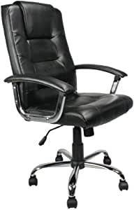 Eliza Tinsley High Back Leather Faced Executive Armchair with Chrome Base 2008ATG/LBK