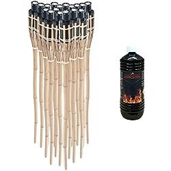 Pre & mium 18x–Antorchas de jardín bambú bambú decorativo con aceite 1L fackelöl lampenöl laternenöl