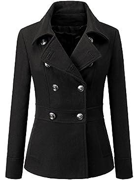 Mujer Chaqueta Elegante Abrigo Trench Doble Botones Jacket Coat Outwear