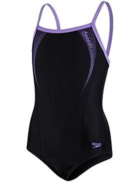 Speedo Sports Logo Thinstrap Muscleback, Costume da Bagno, Multicolore (Black/Deep Lilac), 176
