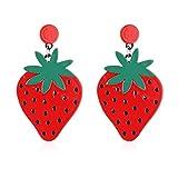 Qinlee Acryl Ohrringe Rote Erdbeere Ohrhänger Mode Ohrschmuck Damen Mädchen Kunst für Festival Party