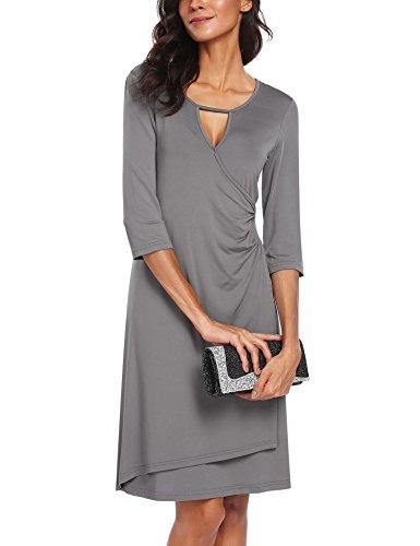ACEVOG Damen V-Ausschnitt A Linie 3/4 Ärmel Wickelkleid Businesskleid Cocktailkleid mit Falten an der Taille