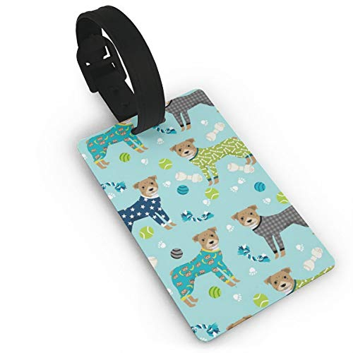 Pitbulls In Pjs - Cute Pitbull Dog Design - Pitbull Pajamas Travel Luggage Tags Name ID Identification Labels Set for Bags Baggage Suitcases Thick PVC Wristband