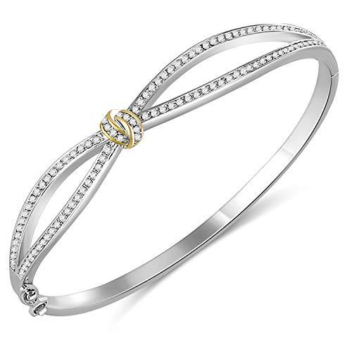 Bracciali angelady bracciali per donna bracciale in oro rosa cristalli da donna swarovski-compleanno natale natale regalo di capodanno per le donne mamma moglie-vieni con scatola regalo (argento)