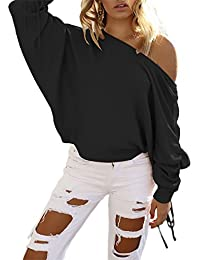 Ninimour Womens Sexy One Shoulder Batwing Sleeve Casual Sweater