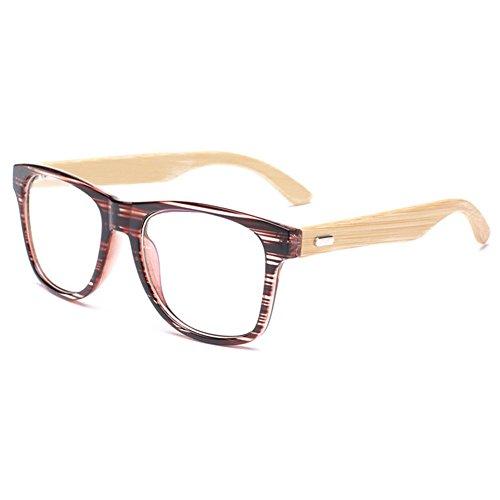 MEIHAOWEI Bamboo Wooden Glasses Frame Clear Lens Herren Damen Eyewear Color 5