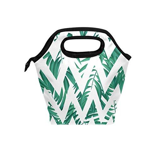 jstel Tropical Palm Leaf 2Lunch Bag Handtasche Lunchbox Frischhaltedose Gourmet Bento Coole Tote Cooler Warm Tasche für Reisen Picknick Schule Büro