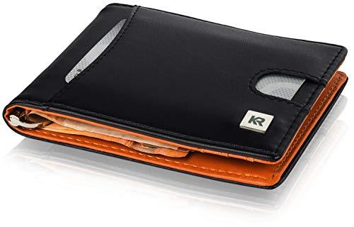 änner mit Münzfach und RFID Schutz, schlankes Portmonaise Herren mit Kleingeldfach, Geldbörse Kartenetui Slim Wallet (Schwarz) ()