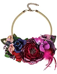 7edb5edfaf91 Ever Fairy Flores Collar Elegante Mujer Colgante Choker Flor Floral Chunky  Cadena declaración Collar Ajustable Hawaiano