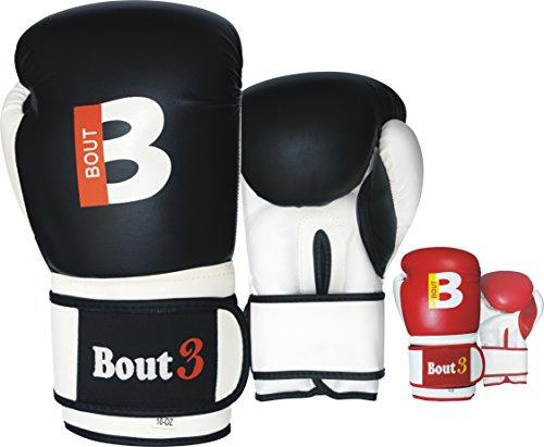 Bout3 Boxhandschuhe, für Sparring, Training, Sandsack Training geeignet, aus Kunstleder, für Kampfsport, Kickboxen, Muay Thai, Farbe Schwarz und Rot