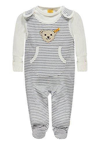 Steiff Baby - Jungen 2tlg. Set Strampler + T-Shirt 1/1 Arm 6712735-0001 blau/weiß Gr. 50