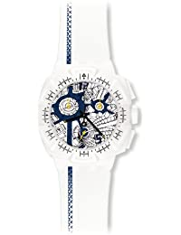 Swatch Damen-Armbanduhr Chrono Plastik 2 Street Map Blue SUIW408